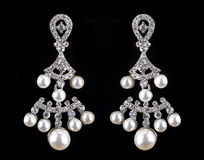 Pear Diamonds pearl Earrings Stock Images