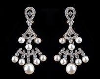 Pear Diamonds pearl Earrings Stock Images
