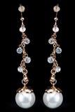 Pear Diamonds pearl Earrings Royalty Free Stock Photos