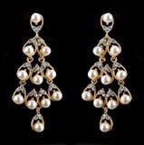 Pear Diamonds pearl Earrings Stock Photo