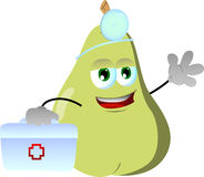 Pear doctor with first aid kit Royalty Free Stock Photos