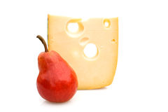 Pear & Emmenthal Cheese. Food & Drinks - Cheese. Emmenthal cheese and pear Stock Images