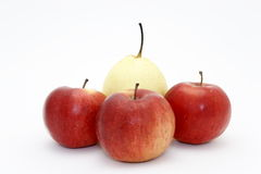 Pear in an environment of apples Stock Photography