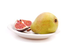 Pear and fig Royalty Free Stock Image
