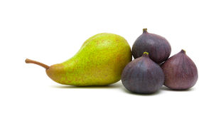 Pear and figs isolated on white background Stock Image