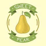 Pear fruit badge isolated vector illustration. Royalty Free Stock Photography