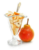 Pear fruit with dessert in glass isolated Stock Photo