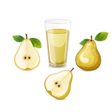 Pear fruit with glass of juice. Stock Photography