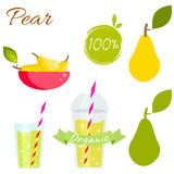 Pear fruit and juice vector set. Royalty Free Stock Photos