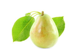 Pear fruit with leaves in pure white background Royalty Free Stock Image