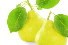 Pear fruit with leaves in pure white background Royalty Free Stock Photos