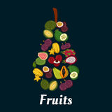 Pear fruit symbol with exotic tropical fruits Stock Photos