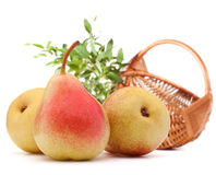 Pear fruit and wicker basket  on white background cutout Royalty Free Stock Photo