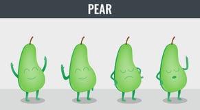 Pear. Funny cartoon fruits. Organic food. Vector Stock Photos