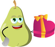 Pear with gift for Valentines Day Royalty Free Stock Photos