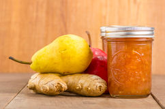 Pear ginger jam in mason jars Royalty Free Stock Photography