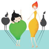 Pear girl and apple girl. Two fruit-like women, with the projection of their fruit shadow, an apple and a pear. Vector image Stock Illustration