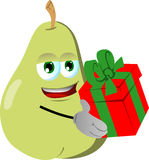 Pear giving you a gift box Royalty Free Stock Images