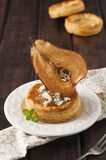 Pear and gorgonzola puff pastry basket Royalty Free Stock Photos