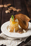Pear and gorgonzola puff pastry dessert Royalty Free Stock Photography