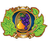 Pear grape label background Royalty Free Stock Photos