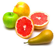 Pear, grapefruit and apples Stock Photos