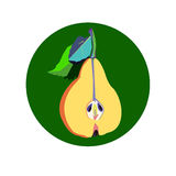 Pear green vector leaf healthy apple fruits Stock Photo