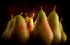 Pear group on dark background. Selective focus Royalty Free Stock Photos