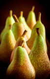 Pear group in studio on dark background. Selective focus royalty free stock photo