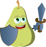 Pear guard with shield and sword Royalty Free Stock Images