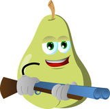 Pear with a gun Stock Images