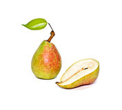 Pear and half. Isolated on white background Stock Image