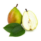 Pear and Half with Green Leaves Isolated on White Background. Stock Image