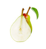 Pear and half a sheet isolated Stock Image