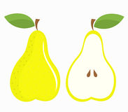 Pear half and whole Royalty Free Stock Photos