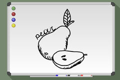 Pear hand drawn. Pear cartoon. Hand drawn  stock illustration. Black and white whiteboard drawing Royalty Free Stock Photo