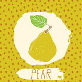 Pear hand drawn sketched fruit with leaf on background with dots pattern. Doodle vector pear for logo, label, brand identity. Stock Photography