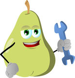 Pear handyman holding a wrench Royalty Free Stock Image