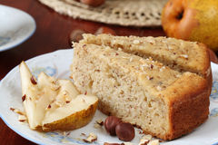 Pear and hazelnut cake Royalty Free Stock Photo