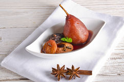 Pear helene in red wine Royalty Free Stock Image