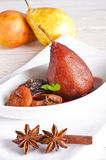 Pear helene in red wine Stock Images