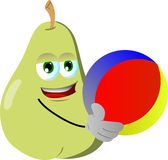 Pear holding a beach ball Stock Image