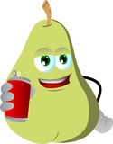 Pear holding beer or soda can Stock Image