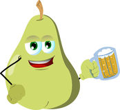 Pear holding beer Royalty Free Stock Image