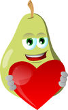 Pear holding a big red heart Stock Image