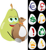 Pear holding a big sack with variable signs Royalty Free Stock Photo