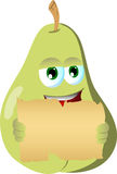 Pear holding a blank old paper Stock Image