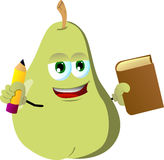 Pear holding a book and a pencil Stock Photography