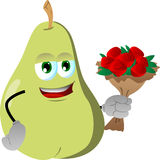 Pear holding a bunch of flowers Royalty Free Stock Photo