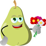 Pear holding a bunch of flowers Royalty Free Stock Photography